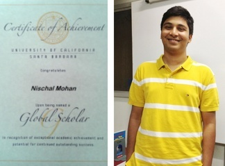 Nischal Mohan Awarded Global Scholars Certificate